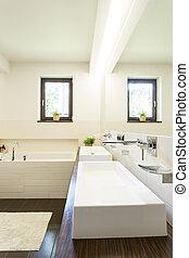 Bathroom with two wash basins - Minimalist beige bathroom...