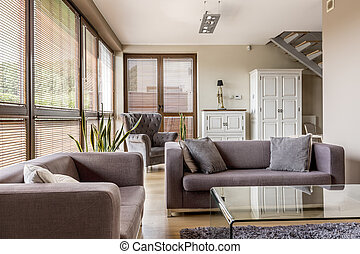 Living room with big windows - Cozy living room with big...