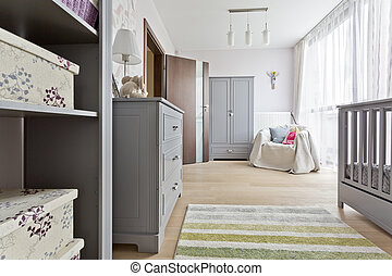 Grey room with baby cot - Grey baby room with elegant baby...