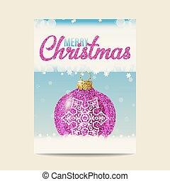 Merry Christmas purple christmas ball with silver snowflake