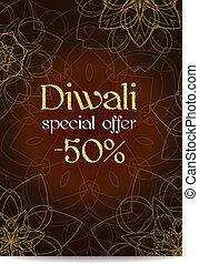 Diwali big sale banner. Indian festival of lights. Flyer...