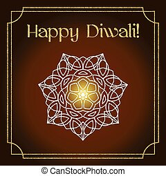 Diwali festival greeting card with gold glitter texture and...