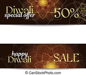 Set of Diwali big sale banners. Indian festival of lights....