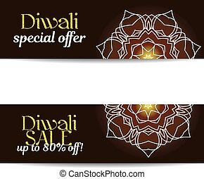 Set of Diwali big sale banners. Indian festival of lights....