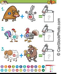 addition educational task for kids - Cartoon Illustration of...