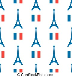 Vector seamless texture of the Eiffel Tower and French flag