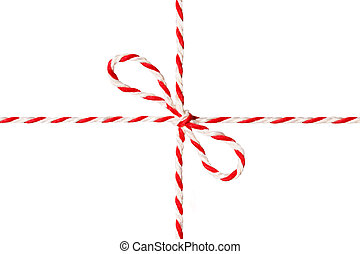 White Red Rope Tied Bow, Postal Ribbon, Isolated Wrapping...