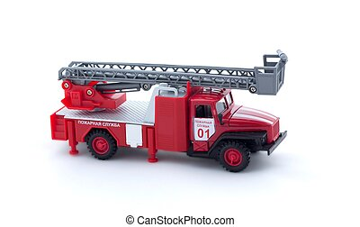 Toy fire truck on white background, isolated