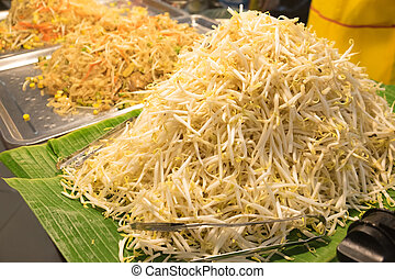 bean Sprouts - Close up of bean Sprouts ready to eat on...