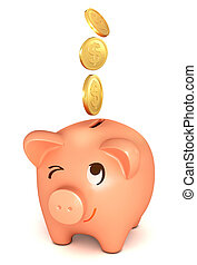 The coins fall into the piggy bank. Conceptual illustration....