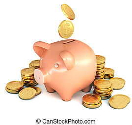 The coins fall into the piggy bank. Heap of coins....