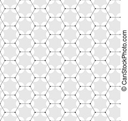 Chemistry seamless pattern, hexagonal design molecule structure on gray, scientific or medical DNA research. Medicine, science and technology concept. Geometric abstract background