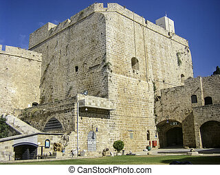 old crusader fortress in Akko - walls of old crusader...