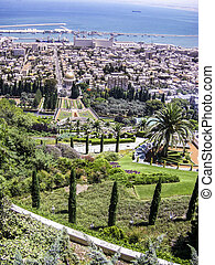 Bahai gardens and temple on the slopes of the Carmel...