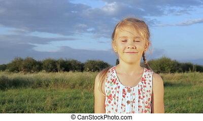 Portrait happy little girl