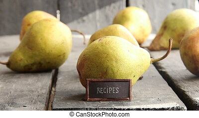 recipes - tag with an inscription and pears on old vintage...