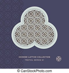 Chinese window tracery trefoil frame of polygon check