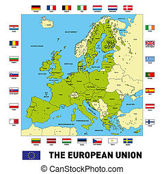 Vector map of The European Union - Vector highly detailed...