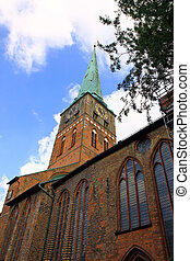 Church in Lubeck - Low angle view to St. Mary\'s Church in...