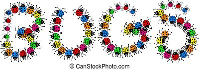 Bugs Message - Colourful cartoon illustration of lots of...
