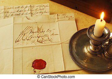 Candle letter and seal - Opened letter with seal