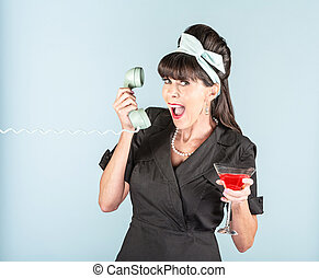 Happy Retro Woman in Black Dress with Cosmopolitan and Phone...