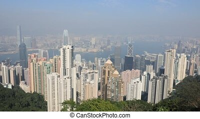 Victoria Peak aerial view - Aerial view time lapse of...