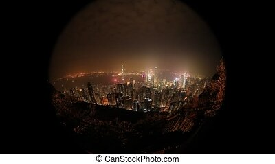 Victoria Peak fisheye - Aerial view time lapse of Victoria...
