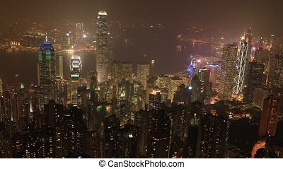 The Peak Hong Kong - Aerial view night time lapse of...