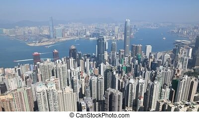 Victoria Peak aerial - Aerial view time lapse of Victoria...