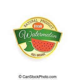 label of fruit watermelon illustration in colorful - label...