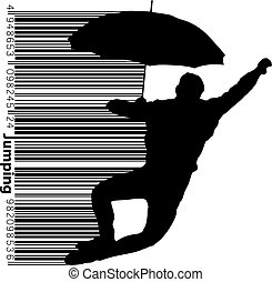 Silhouette of a jumping man.