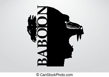 Silhouette of a baboon. Background and text on a separate...