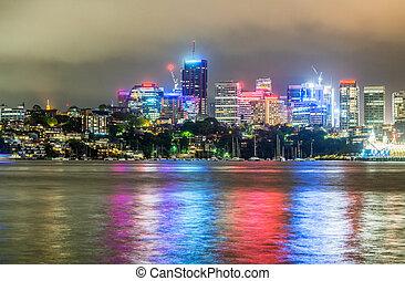 Lights of Sydney skyline at night.