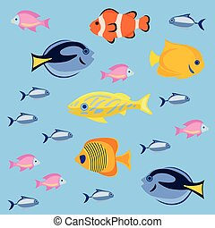 Sea and ocean fish colorful bright set. Tropical fhishes for...