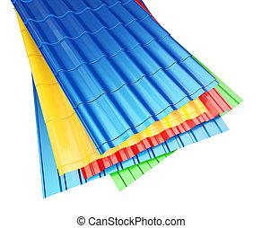 Color Metal Roof Tile on a white background 3D illustration