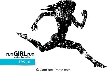 Silhouette of a running girl.