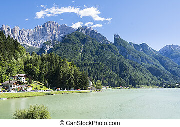 Lake of Alleghe - Alleghe,Italy-August 22,2016:view of the...