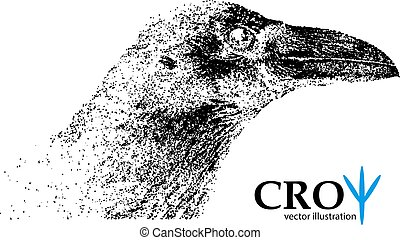 Silhouette of a crow from particles. Background and text on...