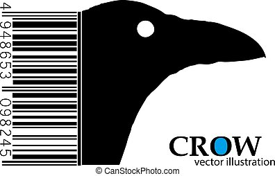 Silhouette of a crow. Background and text on a separate...