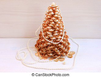 Gold Christmas tree made of shells with pearls handmade