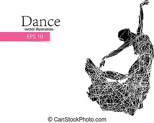 Silhouette of a dancing girl. Dancer woman. - Silhouette of...