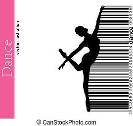 Silhouette of a dancing girl and barcode. Dancer woman. -...