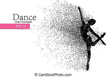 Silhouette of a dancing girl from particle. Dancer woman. -...