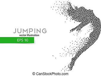Silhouette of a jumping girl from triangles. Text and...