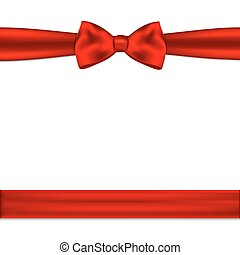Red ribbon bow horizontal border. Vector illustration