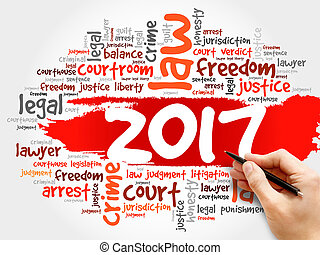 2017 Law word cloud business concept background