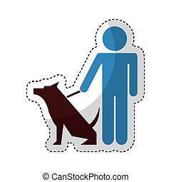 cute dog mascot with trainer isolated icon