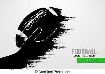 Hand holds the rugby ball, silhouette. Vector illustration -...