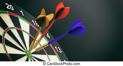 3d rendering darts on target on black background